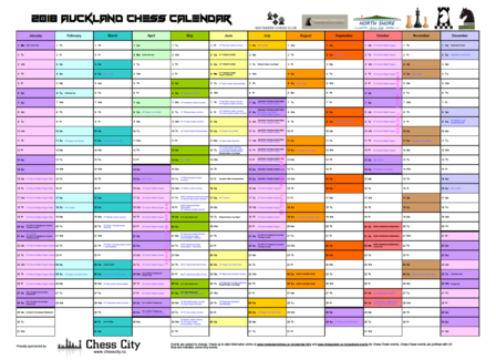 2018 Auckland Chess Desk Calendar