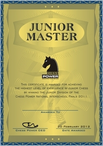 Junior Master Certificate sample