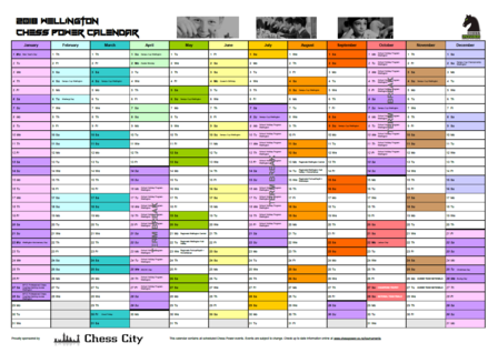 2018 Wellington Chess Calendar